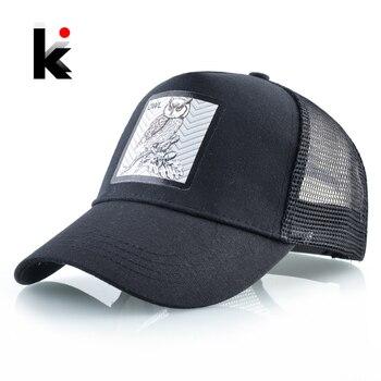 Snapback Trucker Cap Men Summer Breathable Mesh Baseball Caps Women Black Fashion Hip Hop Baseball Hat With OWL Patch Kpop Bone 1