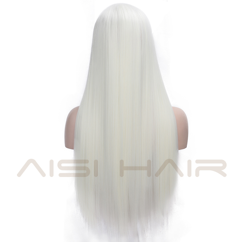 Image 3 - AISI HAIR White Synthetic Lace Front Wig Long Straight Wigs For Women 24Inch Middle Part Black Red Cosplay or Party Wigs 13X4Synthetic Lace Wigs   -