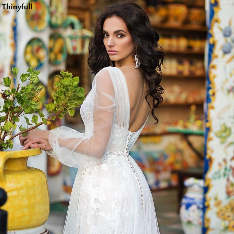 Thinyfull Princess Boho Wedding Dresses Long Puffy Sleeve Lace Appliques Illusion Backless Bridal Gowns With Train Vestidos Boda
