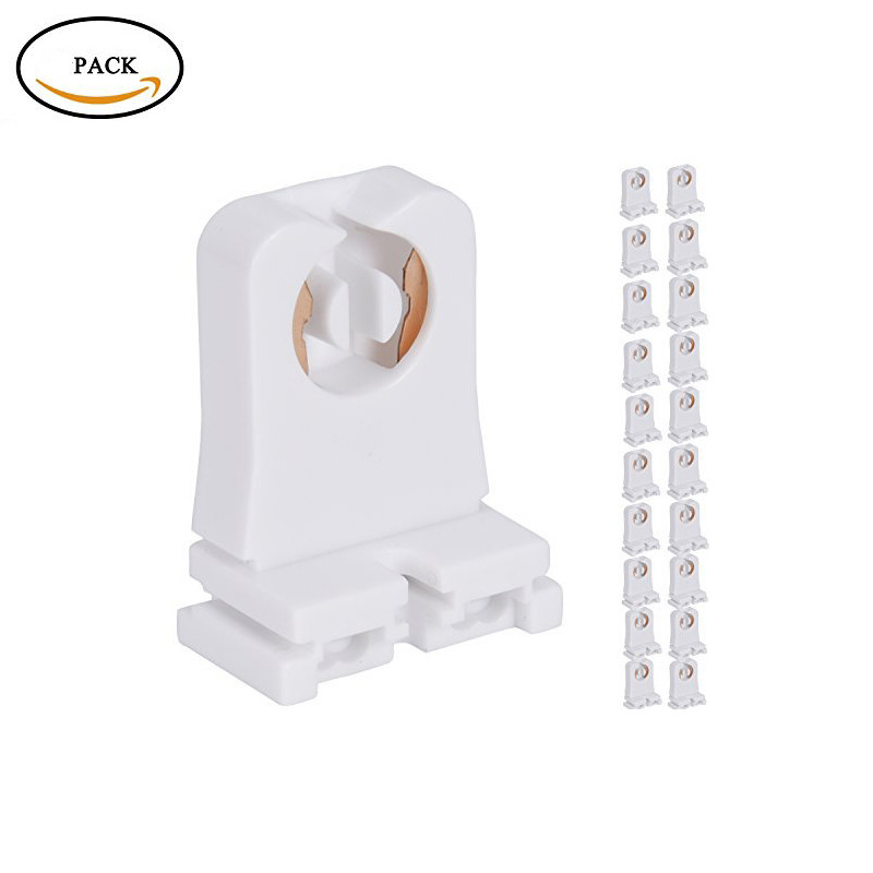 Non-shunted Turn Type T8 Lamp Holder 2 Pack UL Socket Tombstone For LED Fluorescent Tube Replacements Medium Bi-pin Socket For P