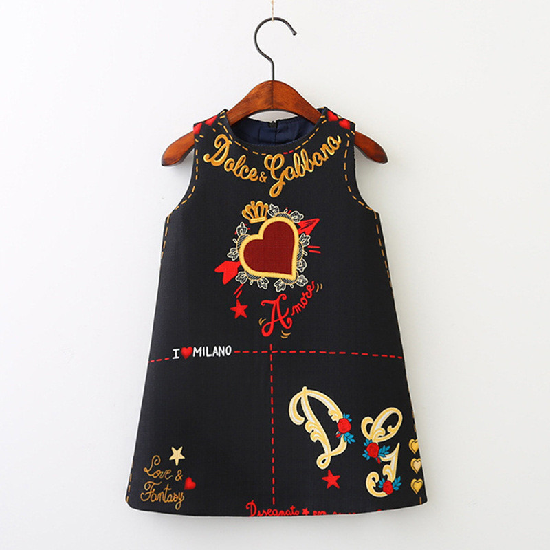 Girls Dress Flower Embroidery Autumn Clothing American-Style European And Spring Vest