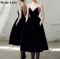Tea Length Spaghetti Straps Prom Dresses 2020 Black Sexy Backless Cocktail Dresses Vestidos De Gala Women Party Graduation Gowns