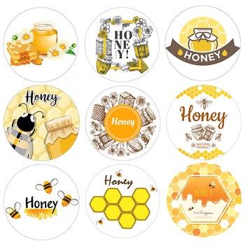 1.8 calowy garnek na miód okładka naklejki pszczoła słodki miód okrągły naklejka uszczelniająca etykiety Party prezent Decoraion biały papier naklejki w tle