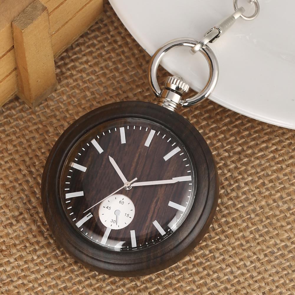 Wooden Pocket Watch Bronze Ebony Quartz Fob Watches Open Face Rough Chain Pendant Clock Unique Mens Gifts Orologio Da Tasca