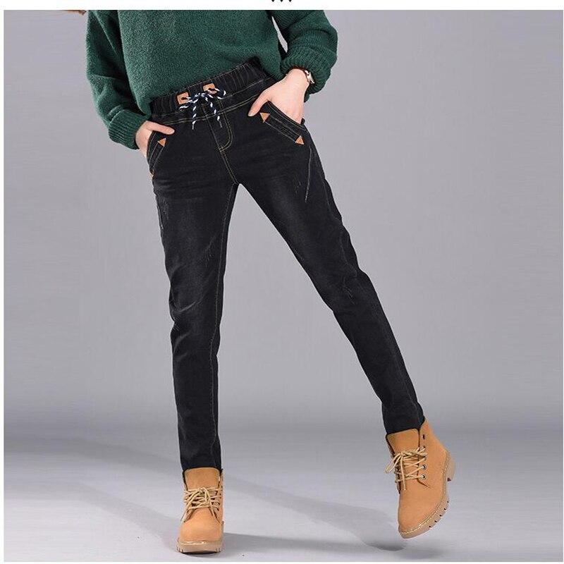 Зимние джинсы женские офисные тонкие с высокой редиской свободные 2019 женские джинсы низ - 2