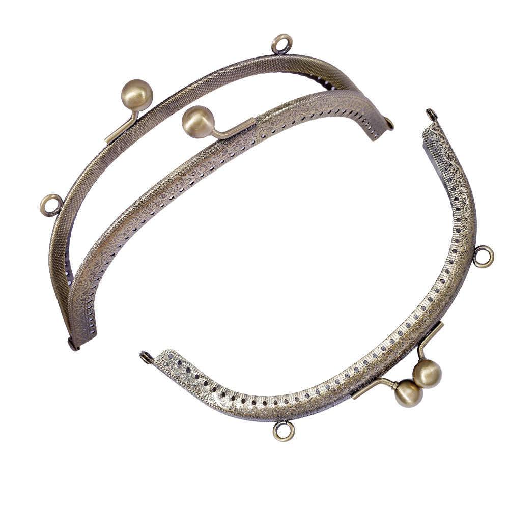 20CM DIY Metal beso cierre arco Metal monedero marco para bolso de mano accesorios bolso Hardware Bronce Antiguo
