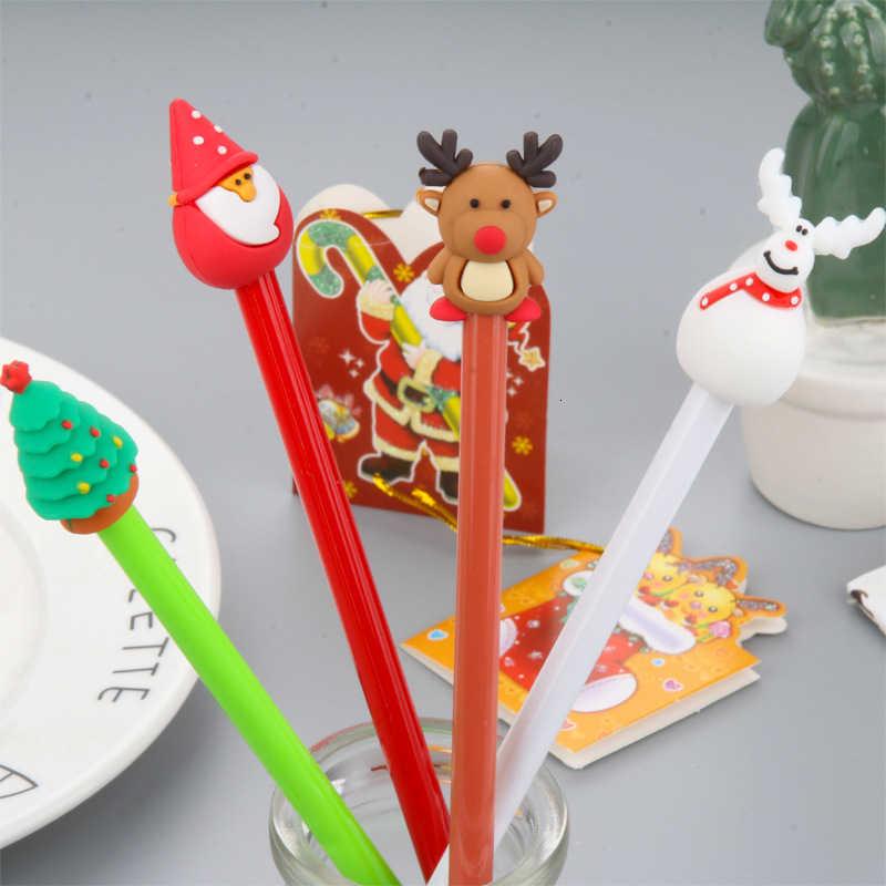 Eleen Brook 1 Piecce sevimli noel x-mas tema jel kalemler noel baba Kawaii kırtasiye malzemesi ofis okul malzemeleri çocuklar hediye