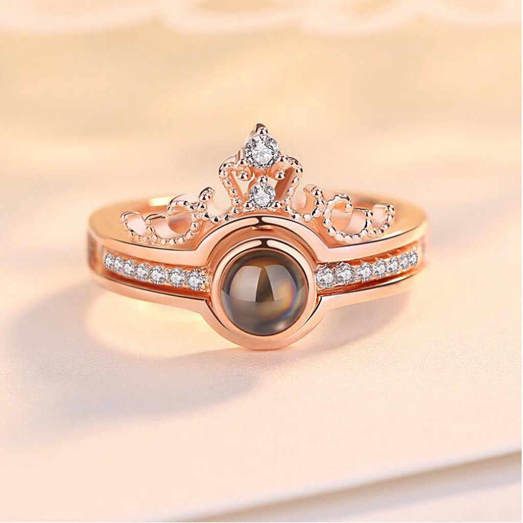 Nuevo diseño de cristal de moda con garras de compromiso en 100 idiomas te amo anillos románticos de gran oferta para mujer AAA cz anillos de boda
