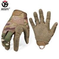Guantes largos militares táctico para hombre y mujer, manoplas transpirables para Paintball, Airsoft, tiro, combate, de dedo completo, color negro ligero