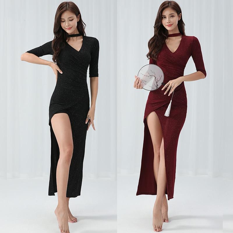 New Sequin Dance Dress Women Latin Dress Black Long Style Tango Dress Vestido Baile Latino Mujer Ballroom Practice Wear BL12141