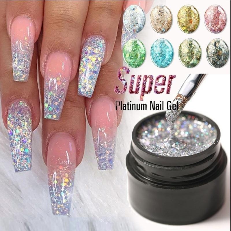 Modelones Platinum Glitter Led Gel Soak Off Nail Lacquer Shiny Sequins Decorations UV Varnish Painting Flowers Polish