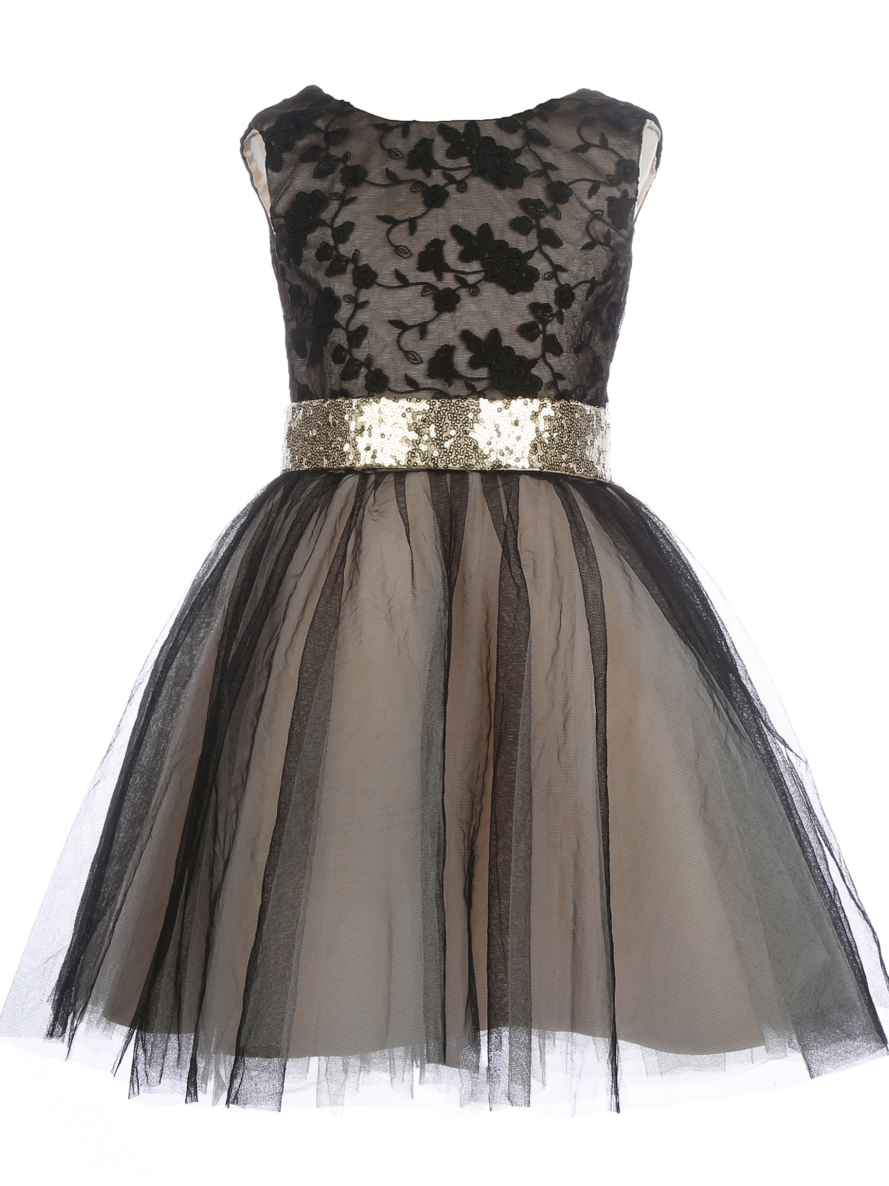 V Back Black Tulle  Flower Girls Dress Little Girls Party Dresses  Christmas Dress In Stock