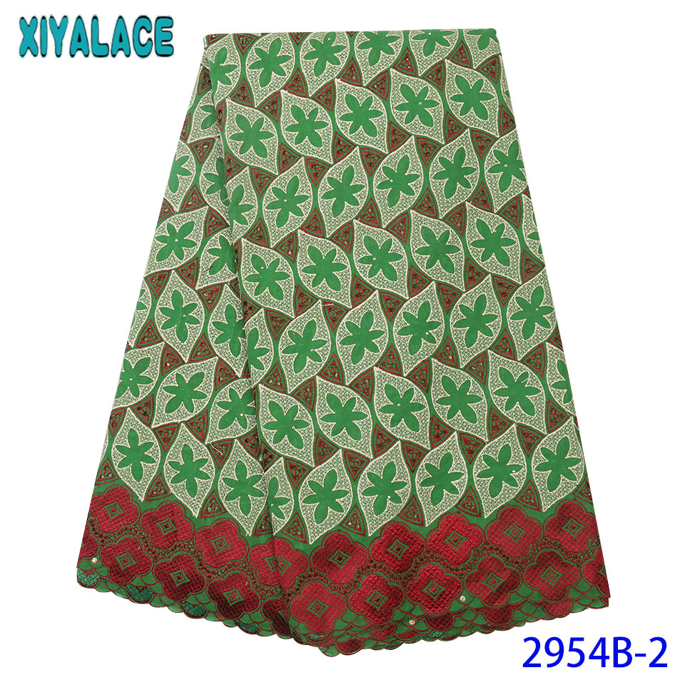Best Selling Dry Lace Fabrics High Quality Cotton Lace Fabric African Fabric Lace With Rhinestones Mint Green KS2954B-2