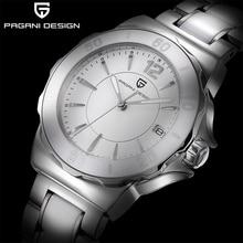 PAGANI DESIGN damski zegarek kwarcowy moda wysokiej klasy ceramiczna ramka szkiełka zegarka zegarek automatyczny data wodoodporny olśniewająco białe kobiety zegarek
