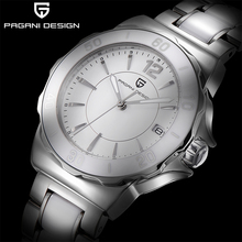 PAGANI تصميم المرأة ساعة كوارتز موضة الراقية السيراميك الحافة ساعة التاريخ التلقائي مقاوم للماء مضيئة الأبيض المرأة ساعة اليد