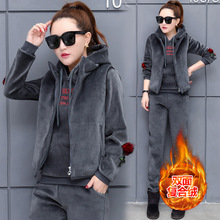 Women Sport Suit Tracksuit Winter Thick Velour Warm Embroid Jacket Hoodie+coat+pant Casual Jogger Running Outfits Set Sportswear недорого