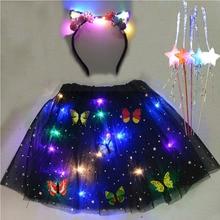 Tutu-Skirt Magic-Wands Women Costume Fairy-Stick Girl Cosplay Kids with Light-String