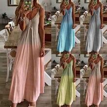 Женское длинное платье без рукавов привлекательное пляжное на