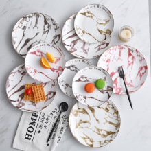 Marble Ceramic Round Dinner Plate Brief Porcelain Gold Edge Glaze Household Breakfast Dessert Cake Tray Steak Snack Dishes