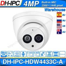 Dahua IPC HDW4433C A 4mp hd rede poe ir mini dome câmera ip luz das estrelas microfone embutido HDW4433C A câmera de cctv substituir HDW4431C A