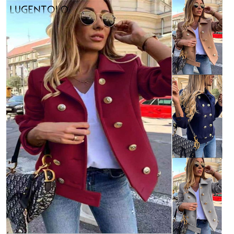 Lugentolo Women Coat Autumn And Winter Fashion Slim Long-sleeved Double-breasted Suit Collar Wool Coat  Winter Coat Women