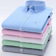 Size 8XL Oxford Shirt For Mens Long Sleeve Cotton Casual Dress Shirts Male Solid Plaid Chest Pocket Regular-Fit Man Social Shirt