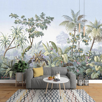 Photo Wallpaper European Style Hand Painted Garden Forest Rainforest Banana Leaf Palm Tree Retro Mural Living Room Bedroom Mural