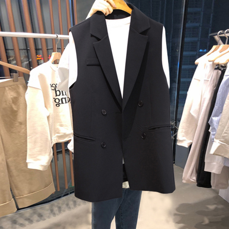 Женский офисный костюм без рукавов, Черный Повседневный двубортный длинный пиджак, весна осень 2020 Пиджаки    АлиЭкспресс