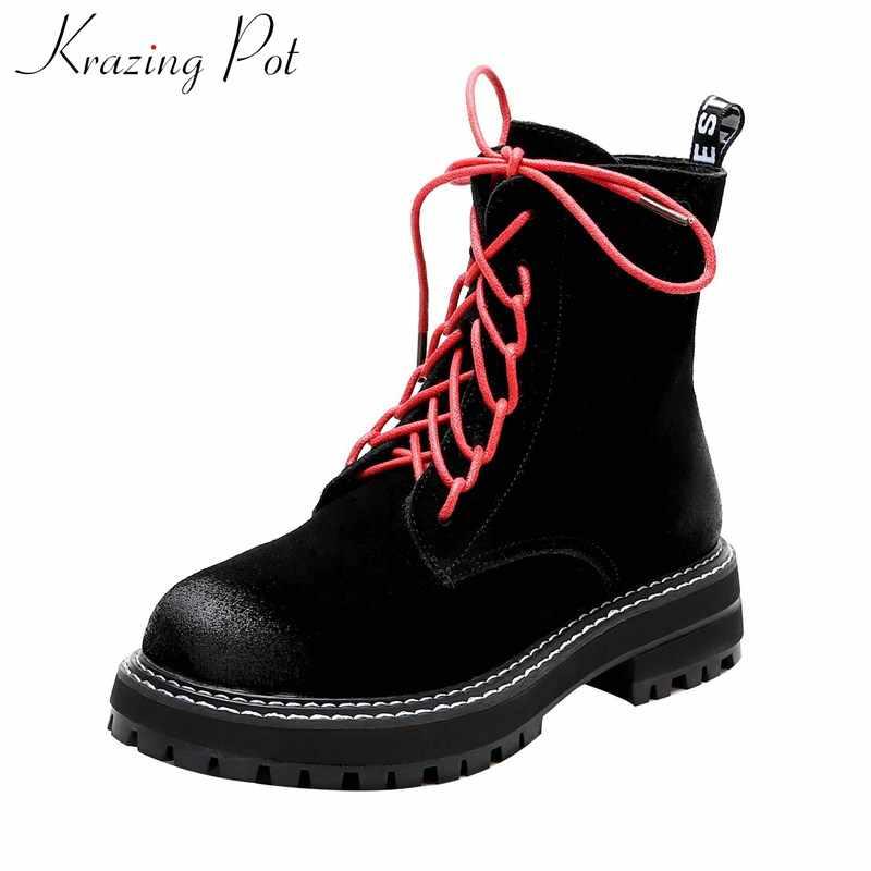 Krazing pot yeni yıldız streetwear İnek deri yuvarlak ayak med topuklu yan Zip kış kalın alt sıcak lace up kadınlar yarım çizmeler L08