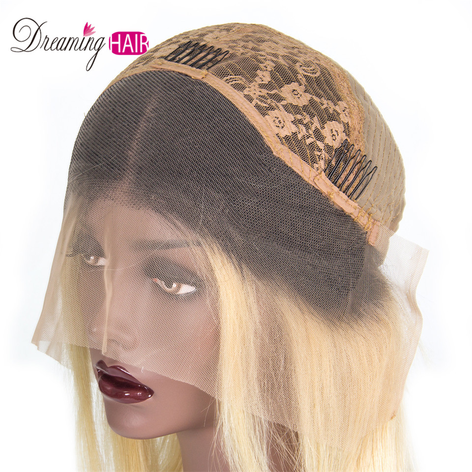Hed1dcf9d99b14ea19c8d151b32dbbf1bQ 613 Short Cut 13X4 Bob Lace Front Human Hair Wig with Bangs Honey Blonde Color Transparent Lace Front Wigs For White Woman