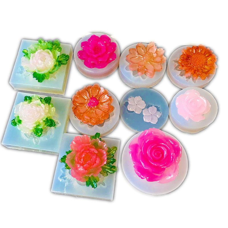 DIY Flower Silicone Molds Resin Camellia Peony Daisy Lotus Flower Jewlery Making D0LC