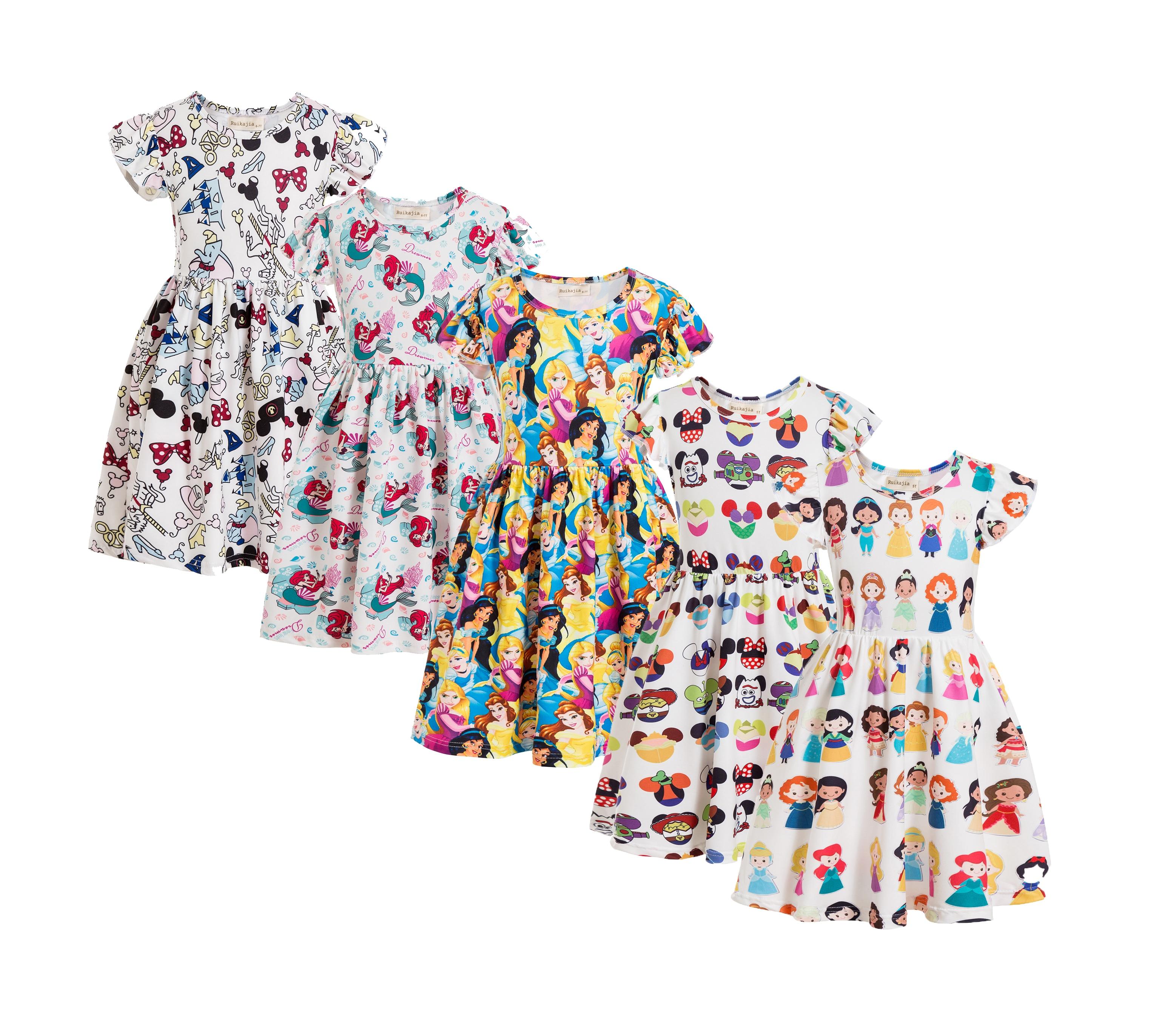 Baby Girls Dresses Summer Clothes Cute Cartoon Princess Mickey Head Printed Minnie Sofia Snow White Princess Dress Mouse Head