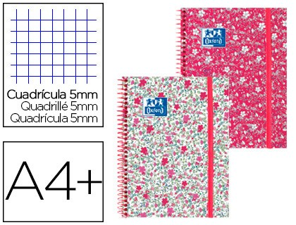 SPIRAL NOTEBOOK OXFORD EBOOK 1 CAP EXTRADURA DIN A4 + 80 SHEETS GRID 5 MM FLORAL 5 Units