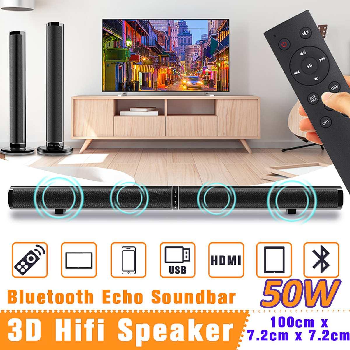 50W Wireless bluetooth TV Sound Bar Speaker Sub Woofer Surround Stereo Home Theatre System Computer Wall Soundbar
