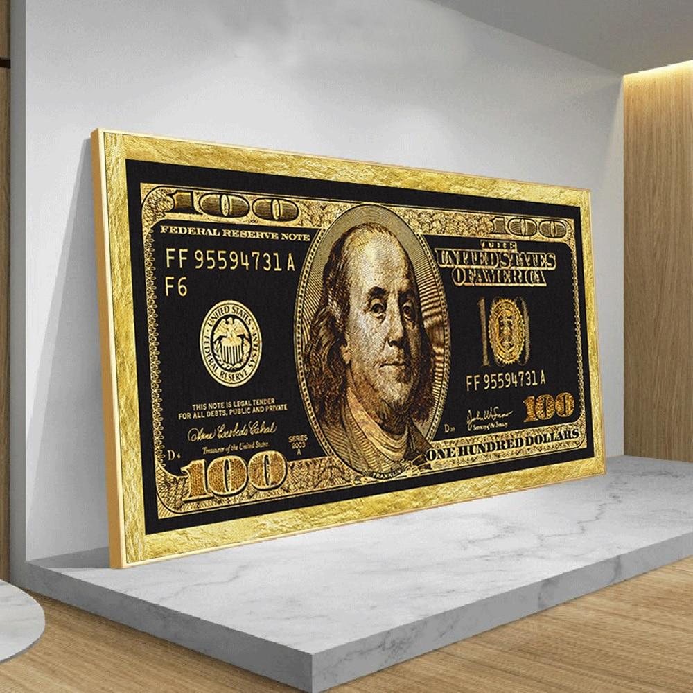 Złoto 100 dolar Bill dekoracje plakaty i druki salon nowoczesne moda Wall Art gotówka obraz na bez ramki na płótnie malarstwo