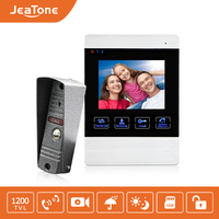 JeaTone 4 Inch HD Led Video Door Intercom System Door Bell 1200TVL Camera Automatic Video Storage Release Unlock Metal Doorbell