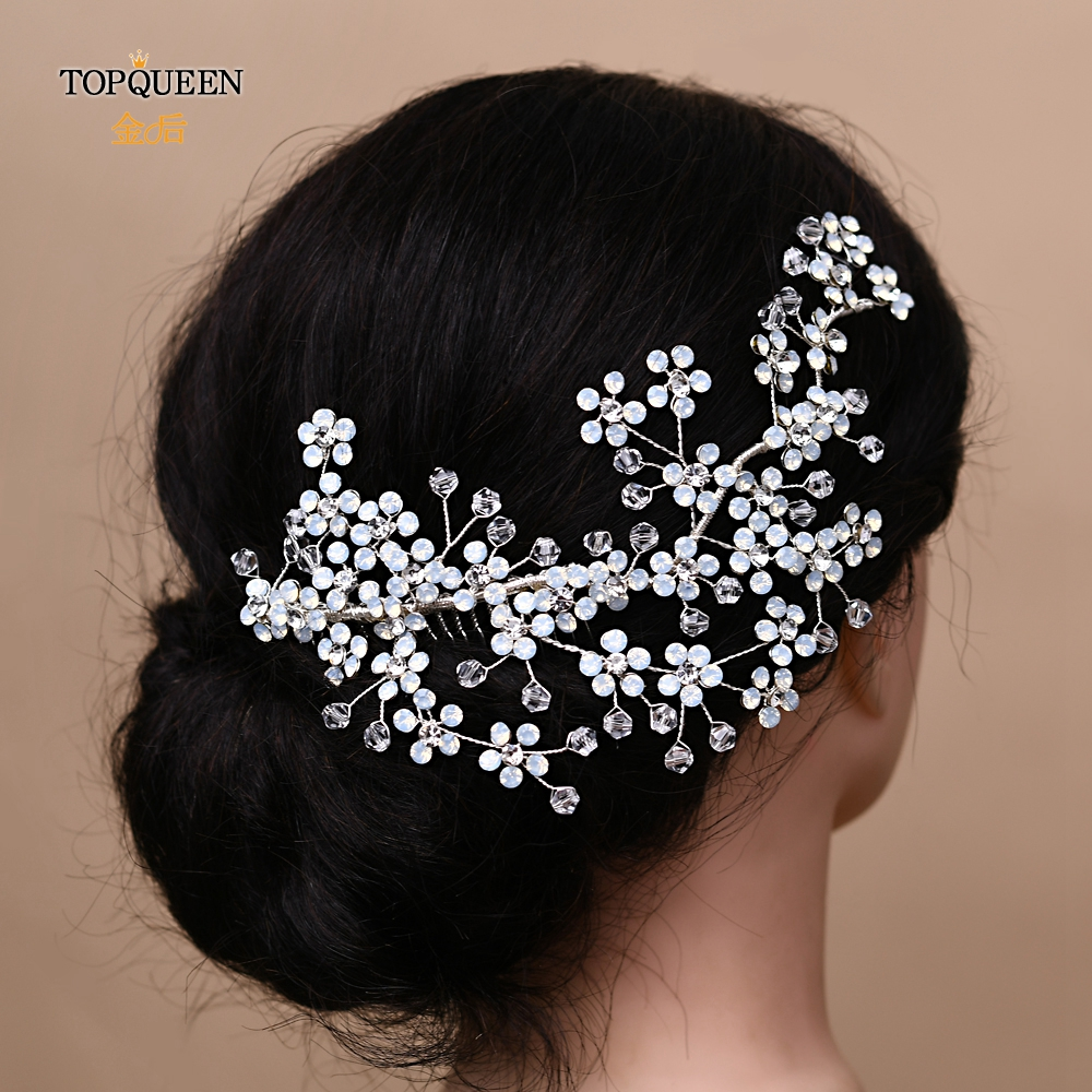 TOPQUEEN HP262 Vintage Bridal Hair Comb Rhinestone Flower Bridal Hair Comb Hair Clip Accessories Women Hair Accessories Luxury