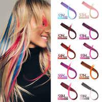 MSTN długa prosta fałszywa kolorowa spinka do przedłużania włosów w podświetleniu tęczowe włosy smuga różowe syntetyczne pasma włosów na klipsach