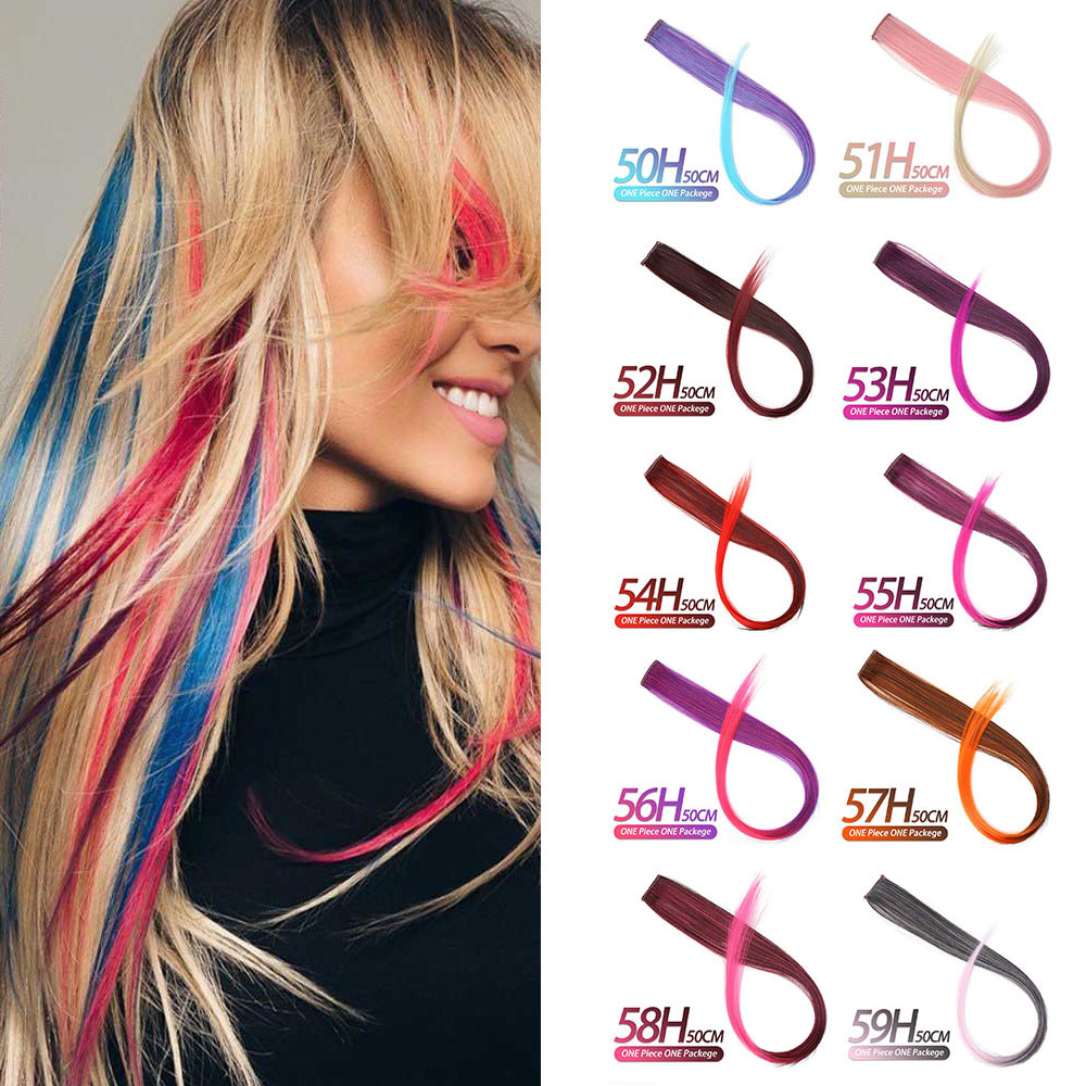 MSTN Long Straight Fake Colored Hair Extensions Clip In Highlight Rainbow Hair Streak Pink Synthetic Hair Strands On Clips