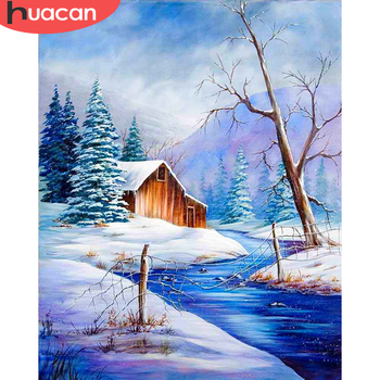 HUACAN Pictures By Number House Kits DIY Home Decoration Painting By Numbers Winter Drawing On Canvas HandPainted Art Gift