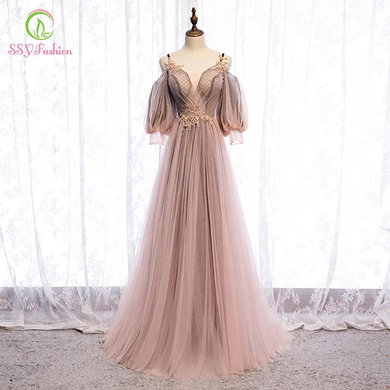 SSYFashion New Sweet Nude Pink Evening Dress V-neck Floor-length 3/4 Sleeve Lace Appliques Party Formal Gowns Robe De Soiree