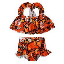 Детский летний модный купальный костюм с леопардовым принтом