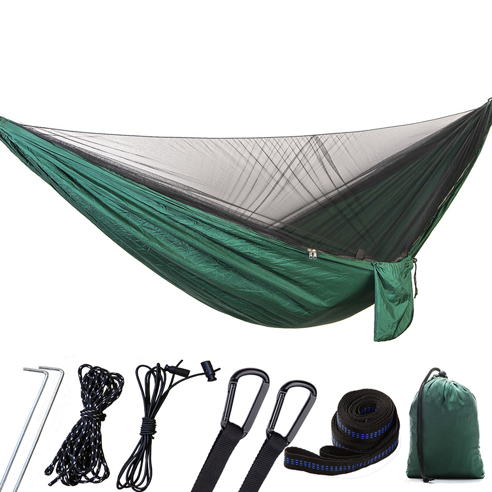 290X140 Upgrade Section Automatic Quickly Open Anti-mosquito Hammock Outdoor Double Parachute Hammock With Mosquito Net Customiz