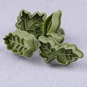 4 Pcs/set 4 Kinds Of Leaf Shape Plastic Cookie Cutters Cake Biscuit Mold Spring Plunger Baking Tool Kitchen Accessories