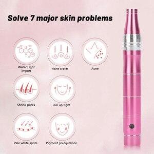 Image 5 - 電動ダーマペンプロワイヤレススキンケアキットツールmicroblading針タトゥーガンツールペンメソセラピーdrペン
