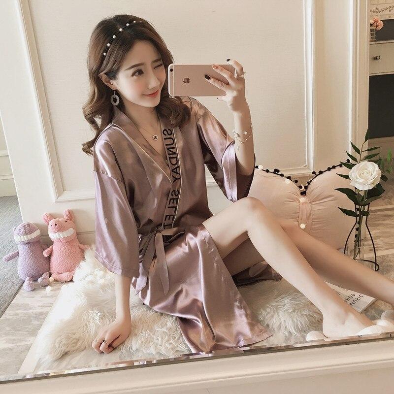 Kimono Pajamas Women's Spring And Autumn Half-sleeve Shirt Viscose Thin Sexy Nightgown Mid-length Bathrobe Clothing Summer Home