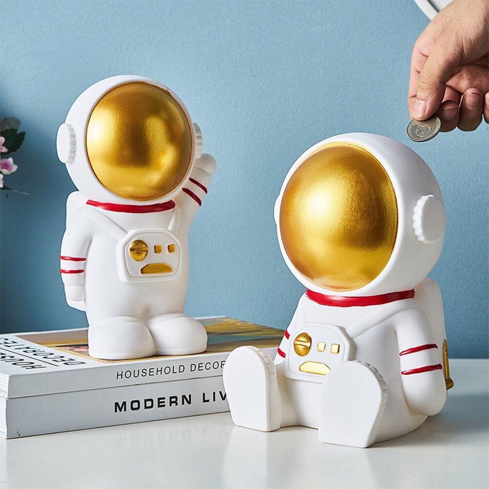 Nordic bonito astronauta criativo moderno cosmonauta piggy bank estátua casa caixa de dinheiro quarto da criança presente natal moeda caixa