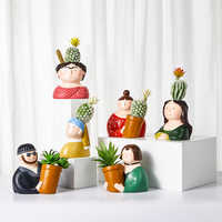 Florero de resina personaje de dibujos animados maceta cara humana florero suculento arreglo de flores sala de estar dormitorio