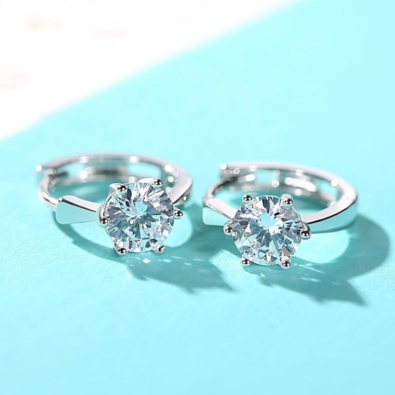 ZHOUYANG Stud Earrings For Women Classic Six Claw Clear AAA+ Shiny Zircon Rose Gold Color Fashion Jewelry For Girls KAE094 1