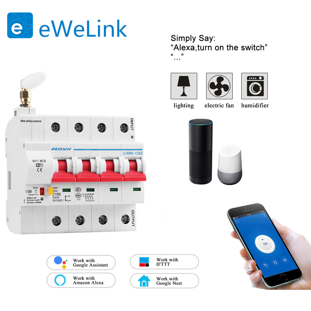 eWelink app 4P WiFi Smart Circuit Breaker overload short circuit protection with  Alexa google home for Smart Home 1